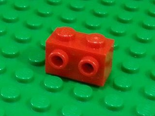 Brick, Modified 1 x 2 with Studs on 1 Side 紅色
